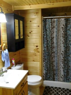 Full size Bathroom with Tank less water heater, towels, soap included