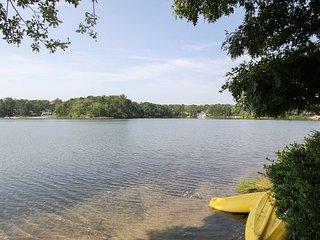3BR on Buck's Pond w/ Water Views & Patio, Steps to Private Beach