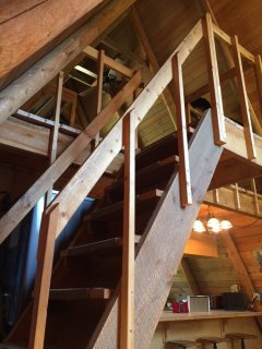 Stairs leading to loft.  They're steep.
