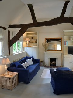 High ceiling and exposed beams