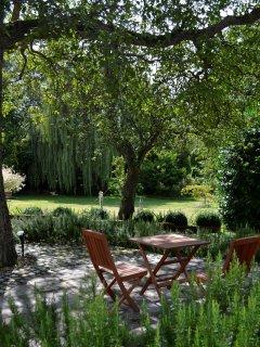Patio area overlooking our garden