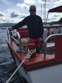 Your host Paul and youngest grandson Sorren searching for whales