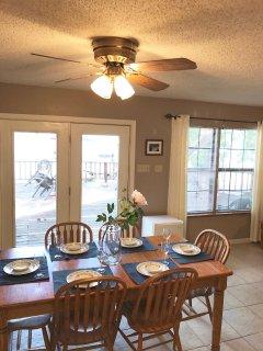 Dining area seats 6.