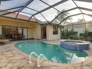 Inviting home with private pool and hot tub, grill, patio, and tennis access
