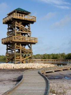 Adembenemend uitzicht vanaf 5 verhaal natuur toren op de natuur in de omgeving Robinson's te behouden.