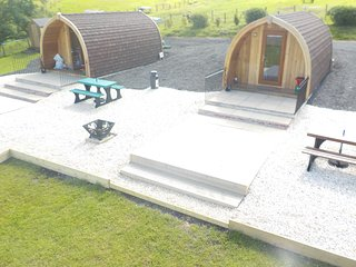 Decking area with picnic benches fire pits and decking for the nice summer nights