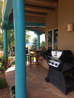 Grill and outdoor bar/table and stools