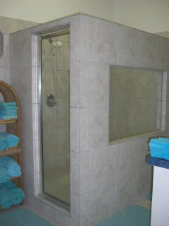 Master bath, double shower, separate WC