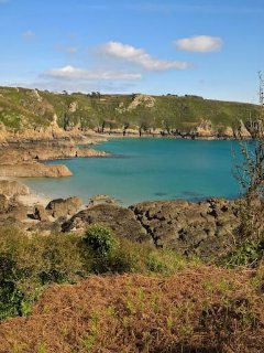View from cliff walks surrounding Moulin Huet beach