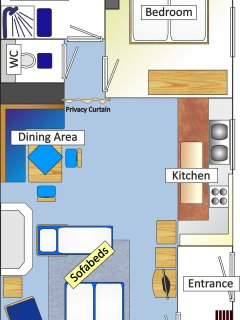 Extended Floor Plan depicting Sofa Beds