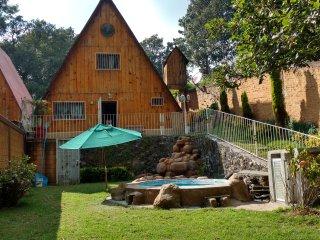 Cabaña Guayacahuala con alberca y temazcal