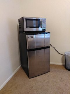 A mini-fridge with freezer and a microwave for your use during your stay!
