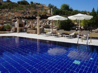 Rhodes Demetrius luxury private villa, pool, sea view, BBQ alfresco dining area