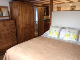 Double bed with wardrobe & chest of drawers