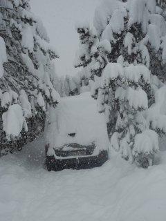 neige!, il vaut mieux sortir la voiture dans la rue ou le chasse neige risque de vous l'enterrer