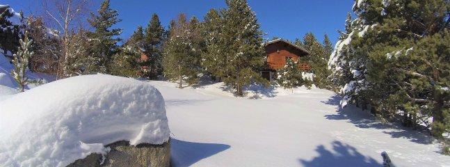le terrain et le chalet en hiver