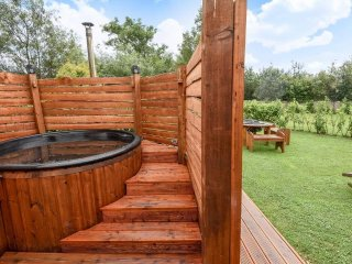 Our natural wood fired hot tub with dead sea salt and essential oils. No chemicals. Bliss