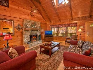 Living Room with Fireplace at Pigeon Forge Pleasures