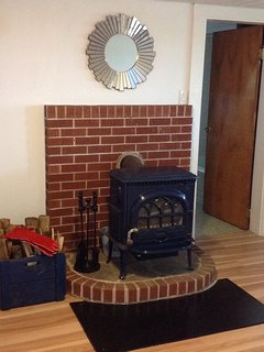 The cozy wood stove. Great for chilly Fall and Winter nights