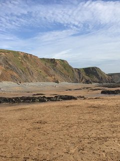 Beautiful sandy beach at Sandymouth