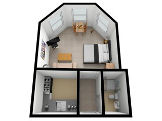 Spacious, bright studio apartment with sea glimpse