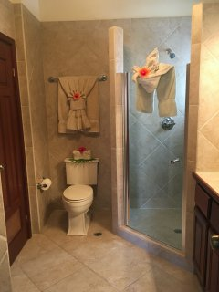 Second ensuite bathroom, featuring spacious walk in shower and high quality bath towels.