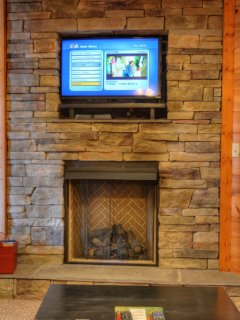 Gas fire place in the basement family room.