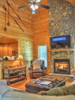 Gas Fireplace and Flat Screen Smart TV