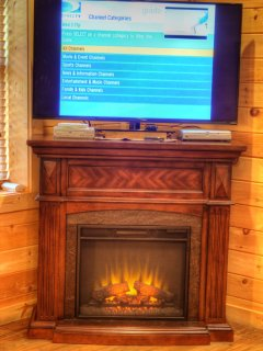 40' Flat Screen TV and Electric Fireplace