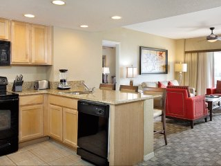 2 bedroom apartment style suite, TV, kitchen or kitchenette, some w/ jacuzzi tub