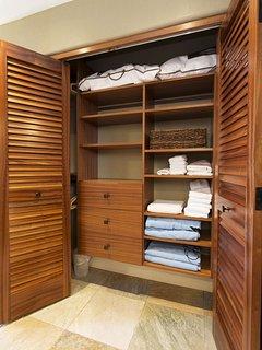 Master Bedroom Custom Closet with Mahogany Doors