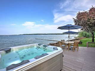 Waterfront Suttons Bay Home w/Hot Tub & Prvt Beach