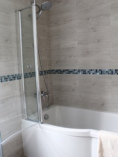 Large 3 -piece family bathroom, wood designed ceramic tiling, interior coastal pallette