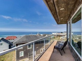 Oceanview home w/ a private hot tub & two decks, 200 feet from beach access!