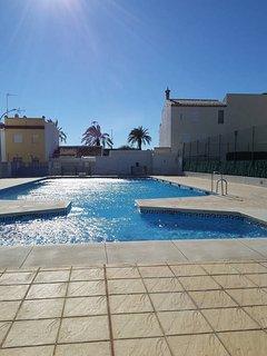 Community swimming pool.  Open 15 June - 15 September .