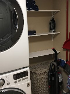 Fully stocked Laundry with new LG stacked washer / dryer!