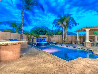Mediterranean Estate w resort style backyard Heated Pool and Spa and Pool Table