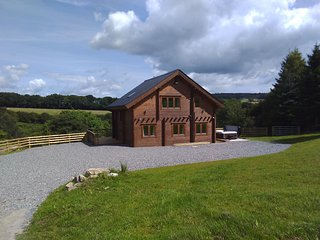 Lake View Log House with hot tub overlooking beautiful Llanfynydd valley