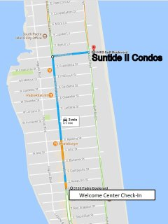 Map to Suntide II from Welcome Center