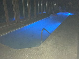 Private Indoor pool with programmed Patriotic light show: LED pool lights glow red, white, and blue