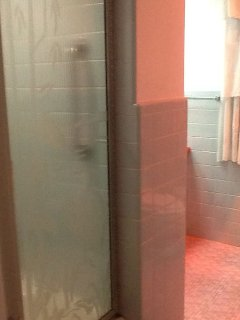 BA 2 Master bath shower with heat lamp. Bath is accessible only through master bedroom.