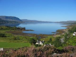 View showing Gran's House and down Loch Torridon towards the Narrows from elevated position