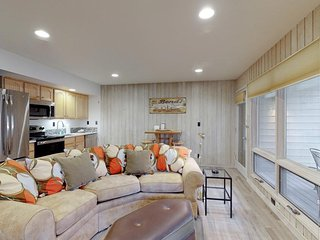 Freshly remodeled ground-floor condo w/ a gas fireplace & a shared pool!