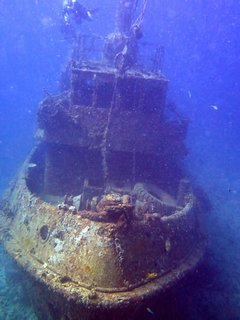 Wreck Diving with Lumbadive. 'WestSider' Tug, 100 ft. down, off nearby Mabouya Island.