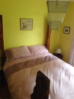 King size 'forest' bed made from our own garden wood,  with Hypnos mattress