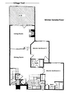 Floor plan of the condominium.  All living space is on one floor.