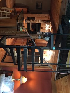 Spiral staircase leading up to the loft bedroom in guest house.