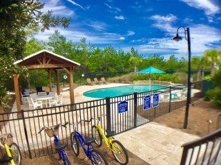 Pool area from Little Gray Cottage deck.  Note 4 bikes available for Little Gray Cottage guests.