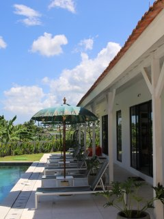 Great views from the upper terrace towards pool and guest rooms