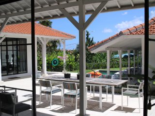 View from the indoor living space to the large outdoor area